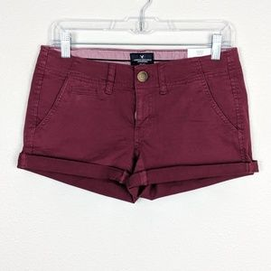 AEO Maroon Shortie Low Rise Stretch Shorts Size 2
